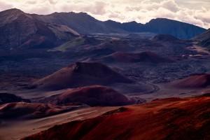 Landscape view of Haleakala national park crater at sunrise, Maui, Hawaii, USA
