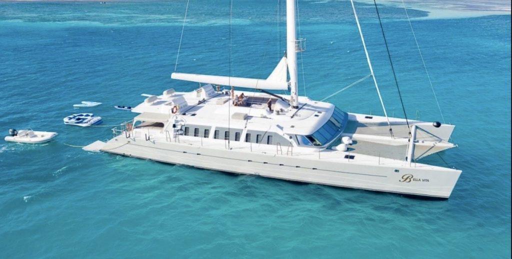 White sailing Catamaran